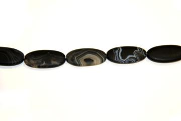 Agate band matt black (Shape: Oval of 40x20 mm.)