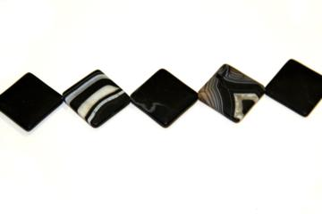 Agate band matt black (Shape: Diamond of 30x30 mm.)